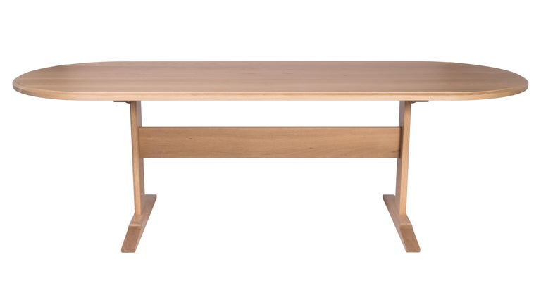 Spade Dining Table by Tretiak Works, Modern Contemporary White Oak Trestle In New Condition For Sale In Portland, OR