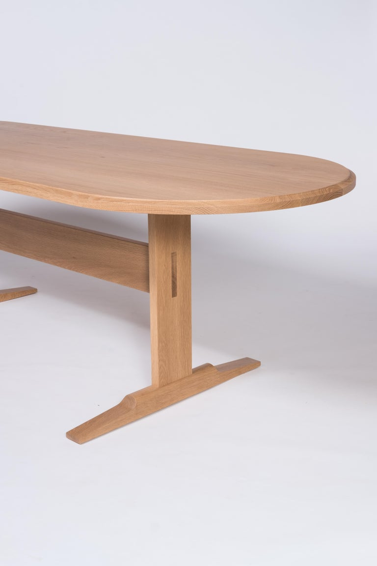 Spade Dining Table by Tretiak Works, Modern Contemporary White Oak Trestle For Sale 1