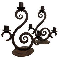 Spain Forged Iron Candelabra Pair + Three Arm Candle Holders Rustic Scroll 1940s