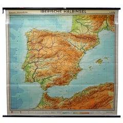 Spain Portugal Iberian Peninsual Map Wall Chart Poster
