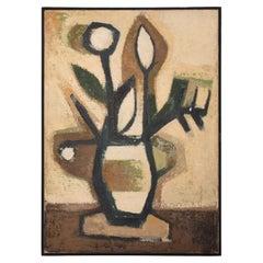 Spain Ramon Prats Artist Abstract Painting Flower Power Art Oil on Canvas, 1960s
