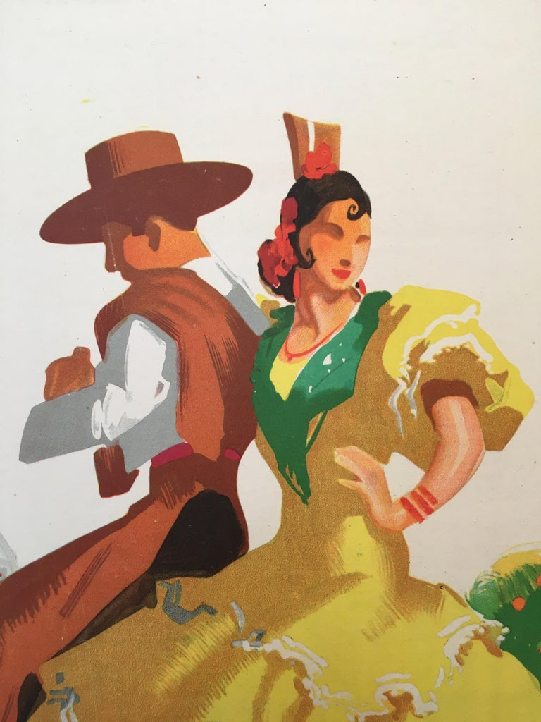 A beautiful 1940s tourism poster advertising Spain, this poster features traditional Flamenco dancers atop horses. It is a stunning poster which has been linen backed for preservation.   Artist Joseph Morell Macías  Dimensions 111 x