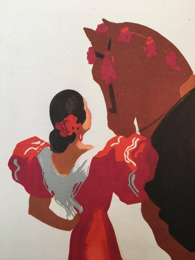 International Style Spain Tourism Original Vintage Poster Flamenco Dancers, 1941 For Sale