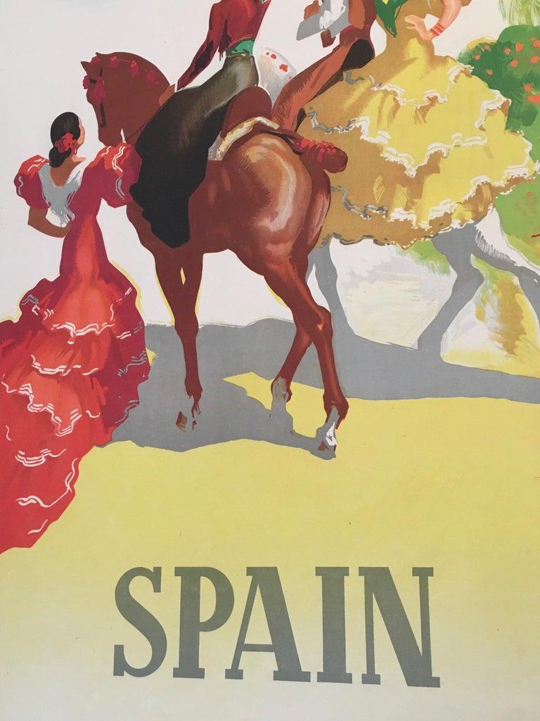 Spain Tourism Original Vintage Poster Flamenco Dancers, 1941 In Good Condition For Sale In Melbourne, Victoria