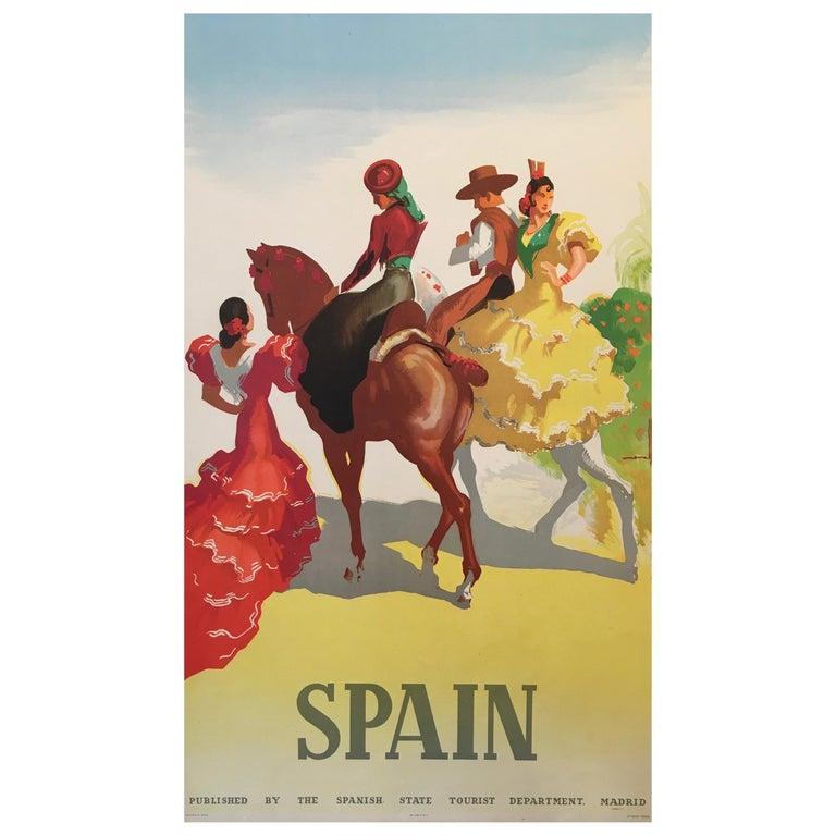 Spain Tourism Original Vintage Poster Flamenco Dancers, 1941 For Sale