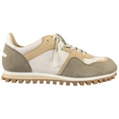 SPALWART Size 9 White & Beige Mixed Materials Nylon Lace Up Sneakers