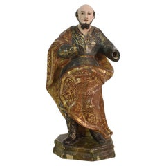 Spanish 17th-18th Century Baroque Carved Wooden Saint Figure