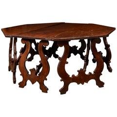 Spanish 17th Century Carlos II Style Dark Walnut Hexagonal Centre Table