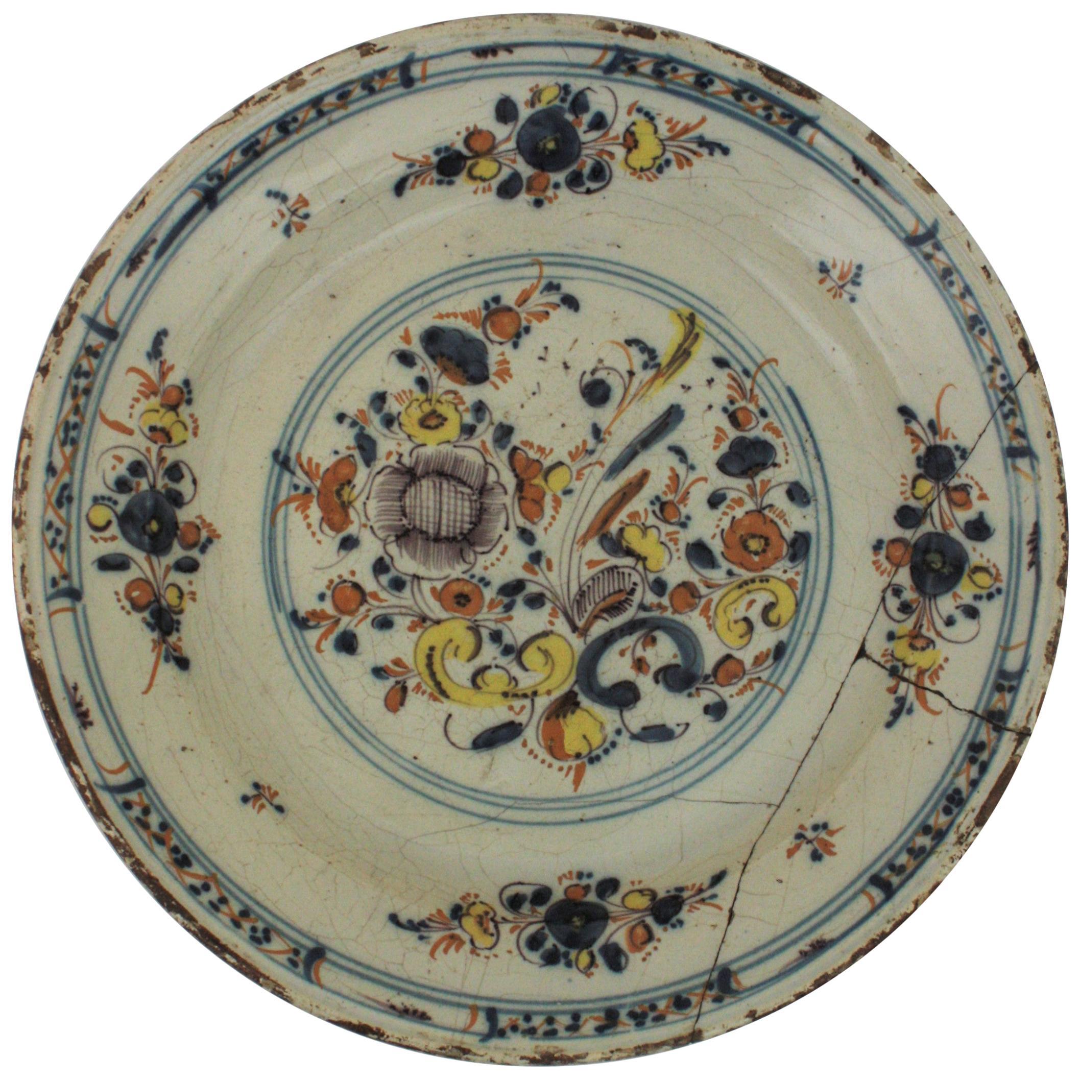 Spanish 17th Century Ceramic Circular Charger Plate, Talavera or Puente
