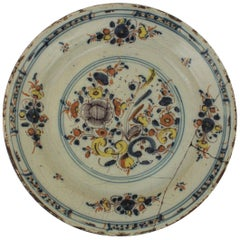 Spanish 17th Century Ceramic Circular Charger Plate, Talavera or Puente