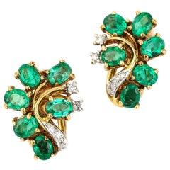 Spanish 18 Karat Gold 2.40 Carat Emerald and Diamond Vintage Cluster Earrings