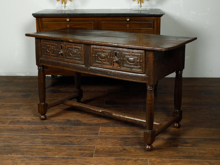 Spanish 1800s Wooden Console Table with Two Drawers and Carved Geometric Motifs In Good Condition For Sale In Atlanta, GA