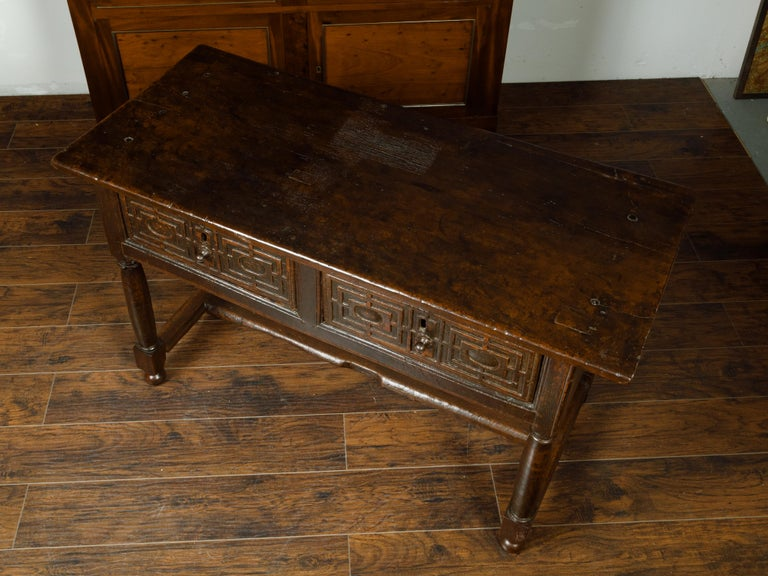 19th Century Spanish 1800s Wooden Console Table with Two Drawers and Carved Geometric Motifs For Sale