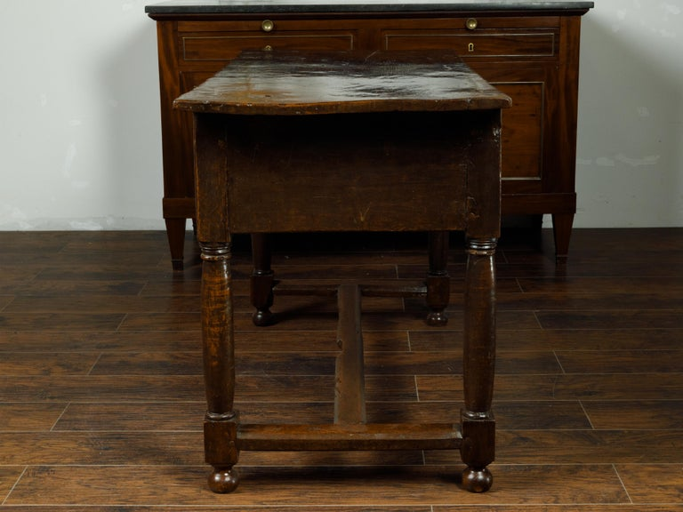 Spanish 1800s Wooden Console Table with Two Drawers and Carved Geometric Motifs For Sale 1