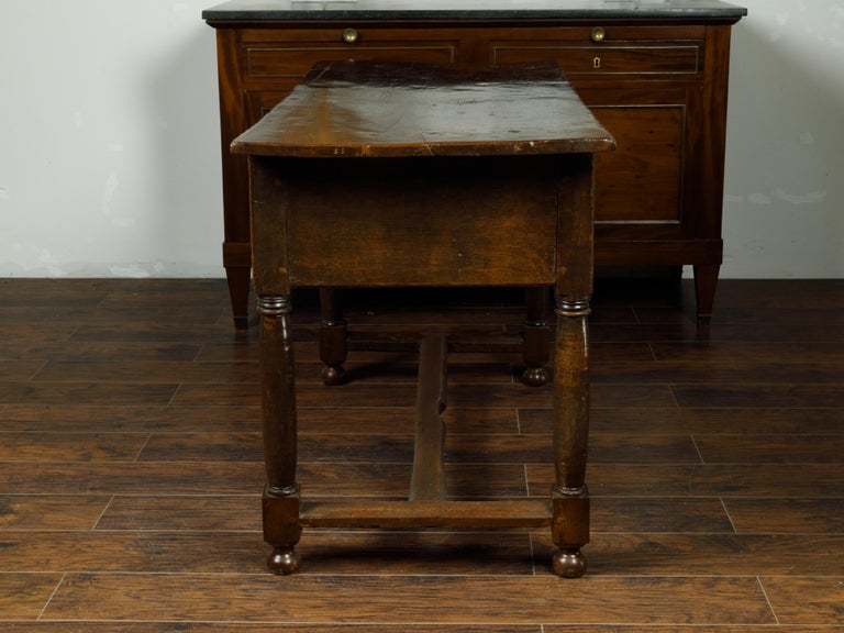 Spanish 1800s Wooden Console Table with Two Drawers and Carved Geometric Motifs For Sale 3