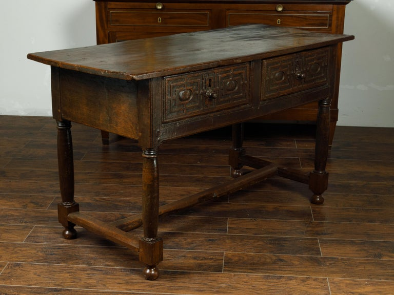 Spanish 1800s Wooden Console Table with Two Drawers and Carved Geometric Motifs For Sale 4