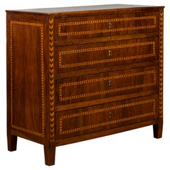 Spanish 1840s Walnut Four-Drawer Commode with Inlaid Geometric Banding