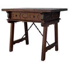 Spanish 1880s Walnut Side Table or Lady Desk, Carved Legs and Iron Stretcher