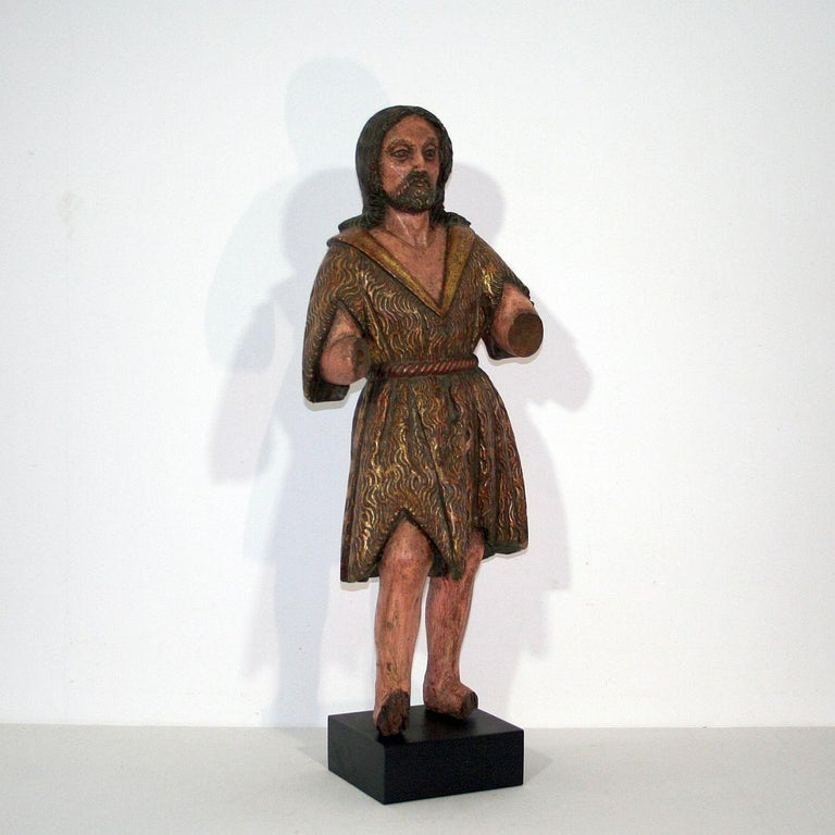 Hand-Carved Spanish 18th Century Baroque Christ Figure For Sale