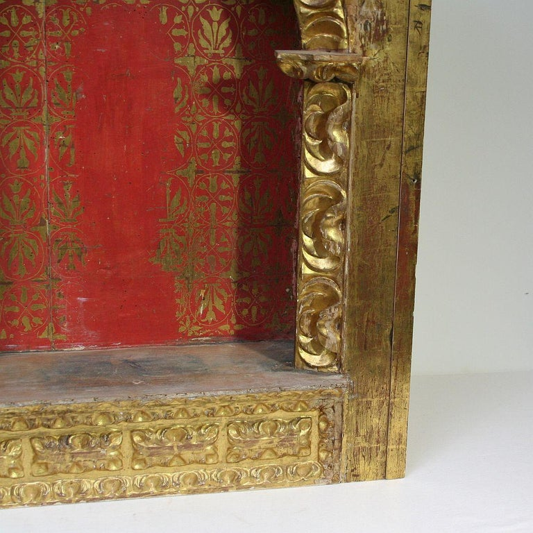 Spanish 18th Century Baroque Giltwood Altar Shrine For Sale 5