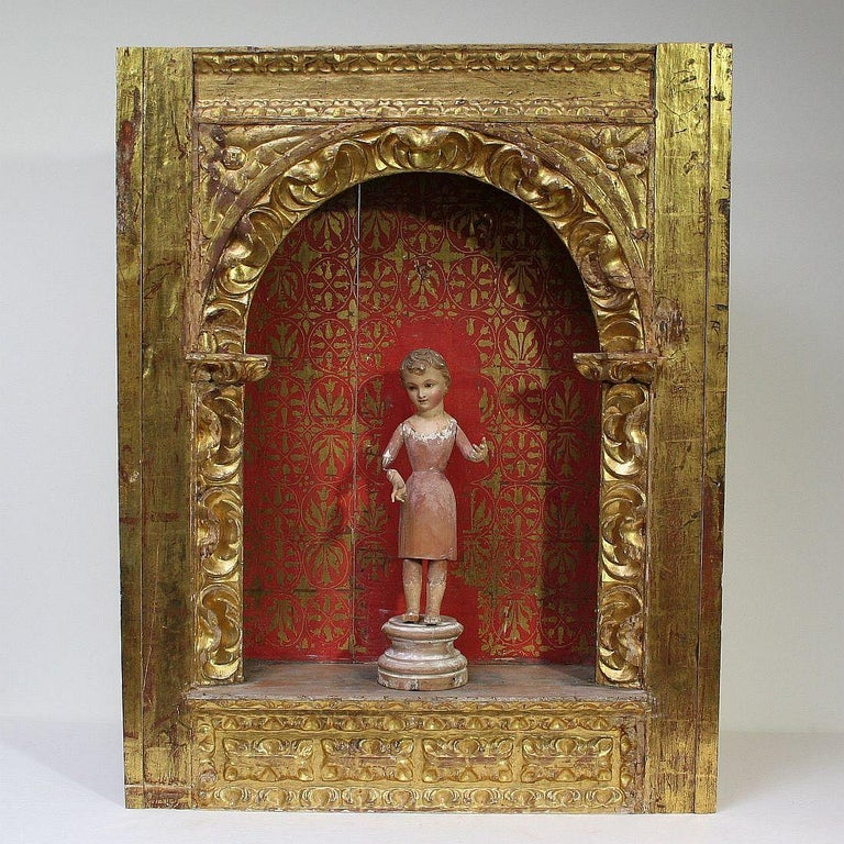 Beautiful giltwood altar shrine with original patina and color. Great and unique item.