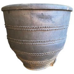 Spanish 18th Century Black Terracotta Urn, Planter
