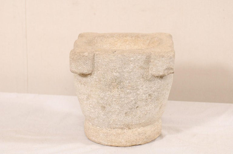 Spanish 18th Century Carved Stone Mortar For Sale 3