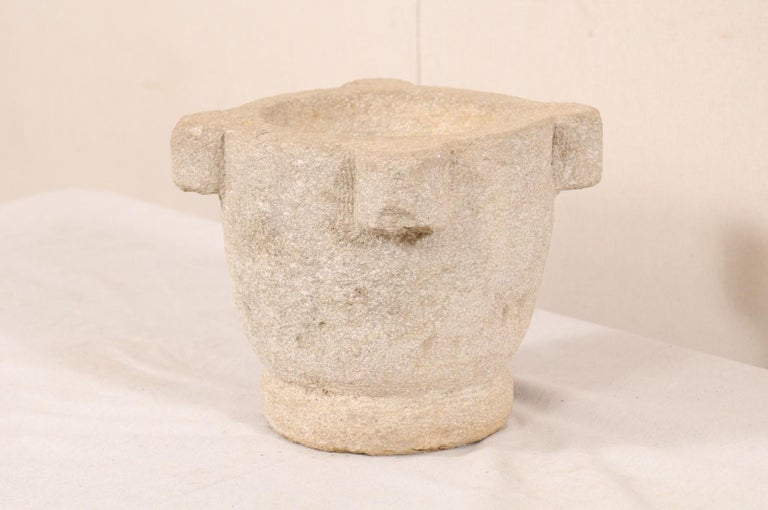 Spanish 18th Century Carved Stone Mortar For Sale 4