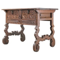 Spanish 18th Century Carved Walnut Table with Original Iron Pulls and Lyre Legs