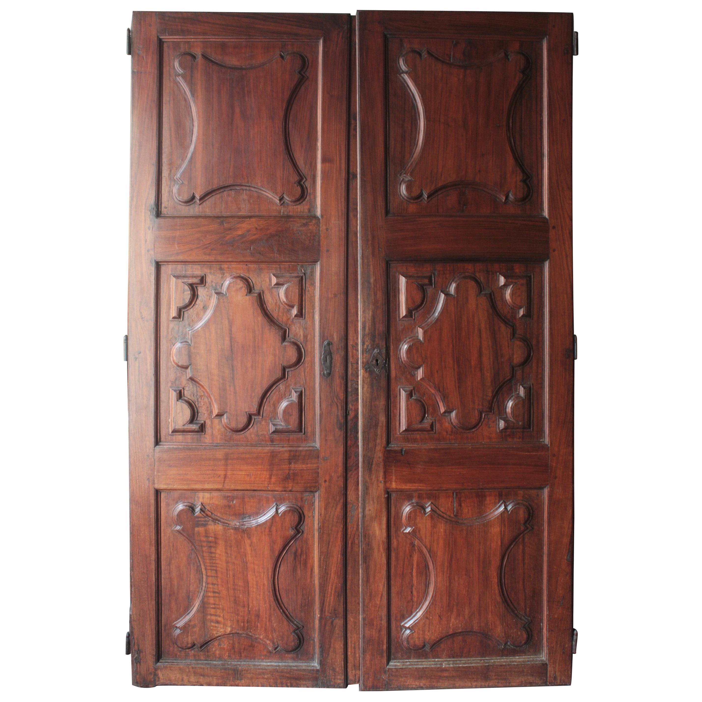 Spanish 18th Century Carved Walnut Wood Doors
