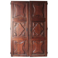 Spanish 18th Century Carved Walnut Wood Doors