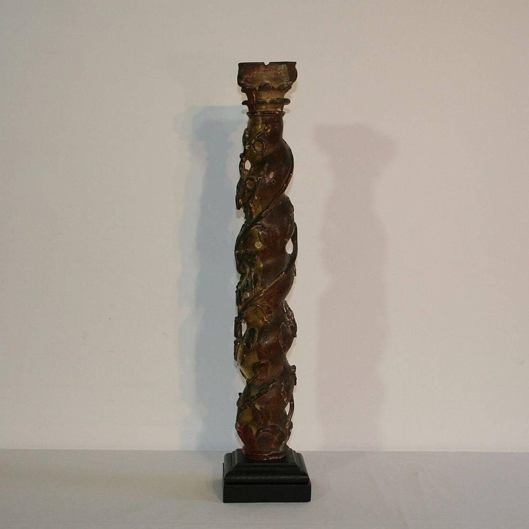 Baroque Spanish 18th Century Carved Wooden Column For Sale
