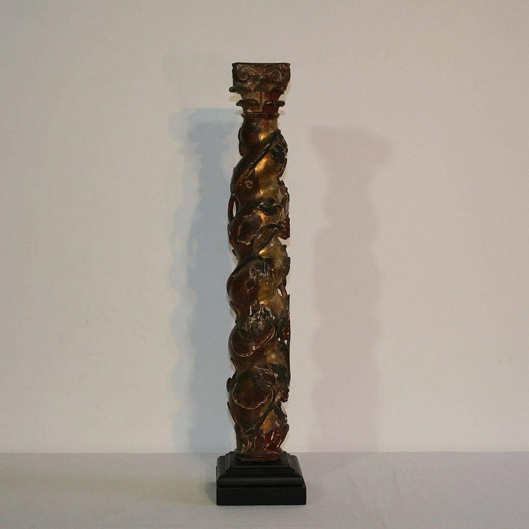 Hand-Carved Spanish 18th Century Carved Wooden Column For Sale