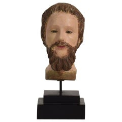 Spanish 18th Century Carved Wooden Head of a Saint