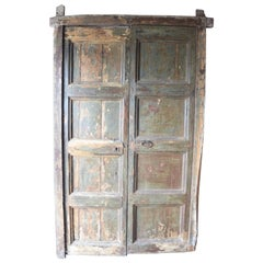 Spanish 18th Century Doors with Old Surround & Original Painted Blue/Green