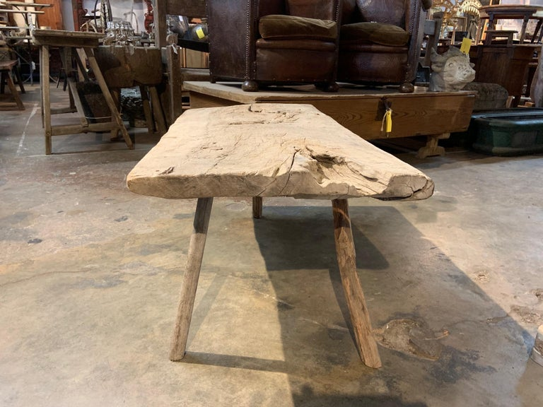 Olive Spanish 18th Century Primitive Work Table or Coffee Table For Sale