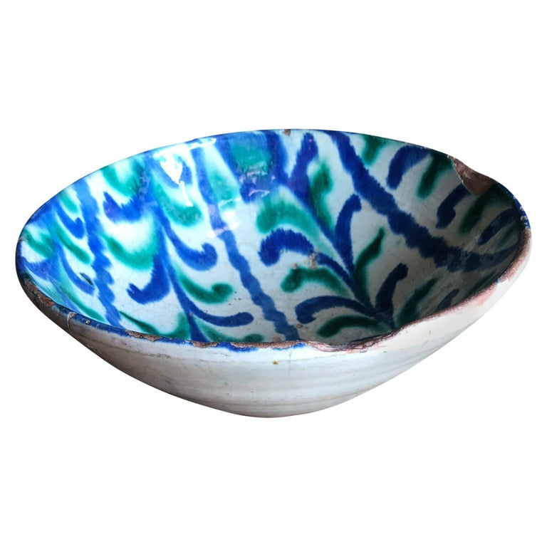 Spanish 18th Century Talavera De La Reina Bowl Plate Decorative Antique Object For Sale