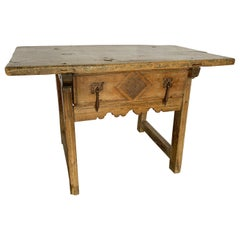Spanish 18th Century Walnut Single Drawer Table