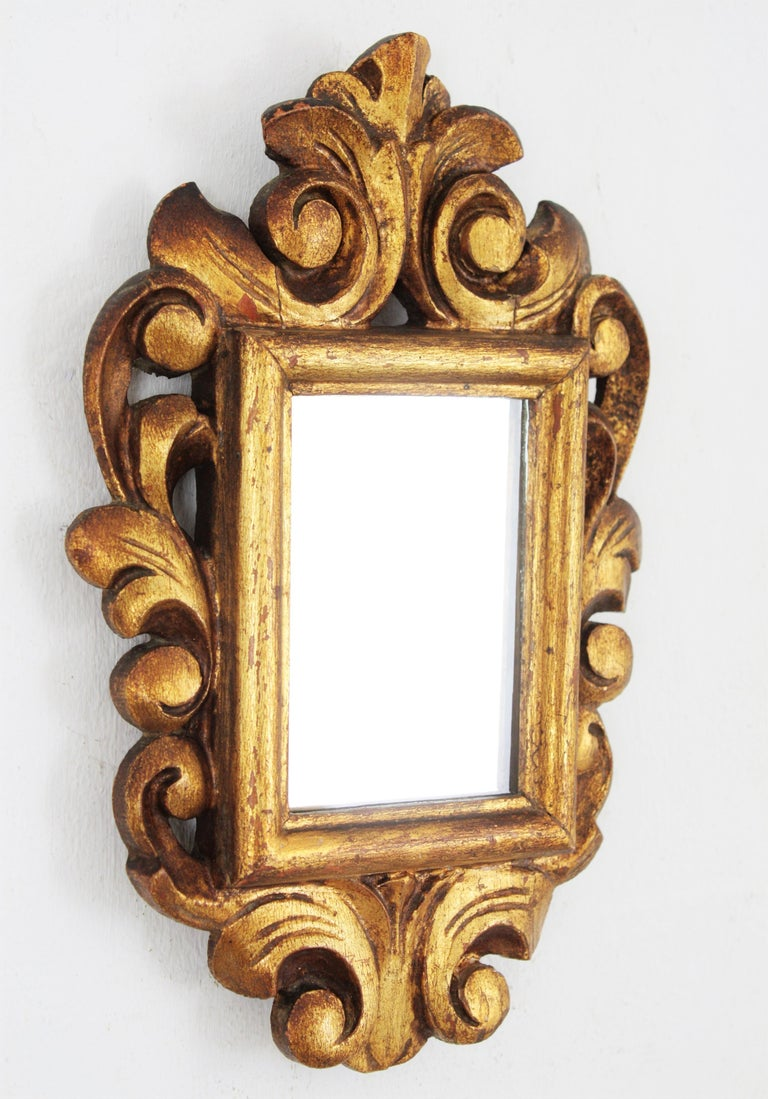 Hand-Carved Spanish 1920s Baroque Style Carved Giltwood Wall Mirror Miniature For Sale