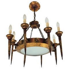 Spanish 1920s Eight-Arm Torch Ring Chandelier with Central Frosted Glass Shade