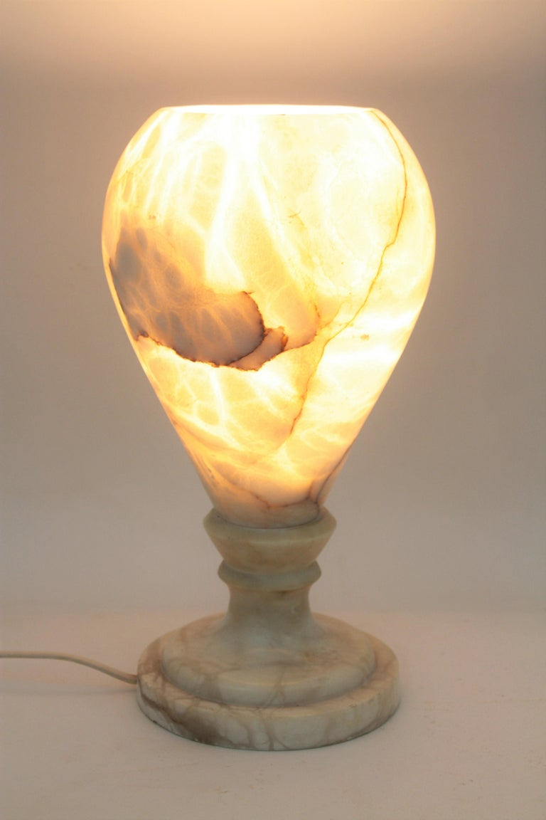 Spanish 1930s Art Deco Alabaster Urn Table Lamp For Sale 6