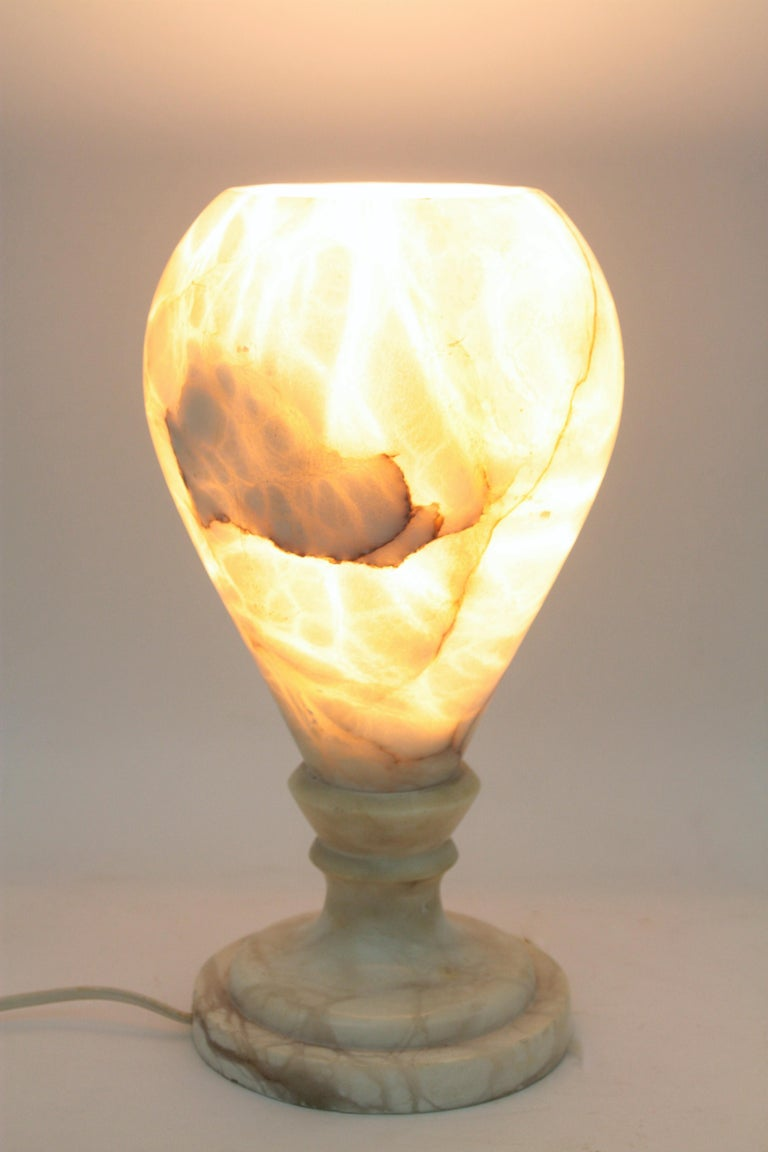 Spanish 1930s Art Deco Alabaster Urn Table Lamp For Sale 8