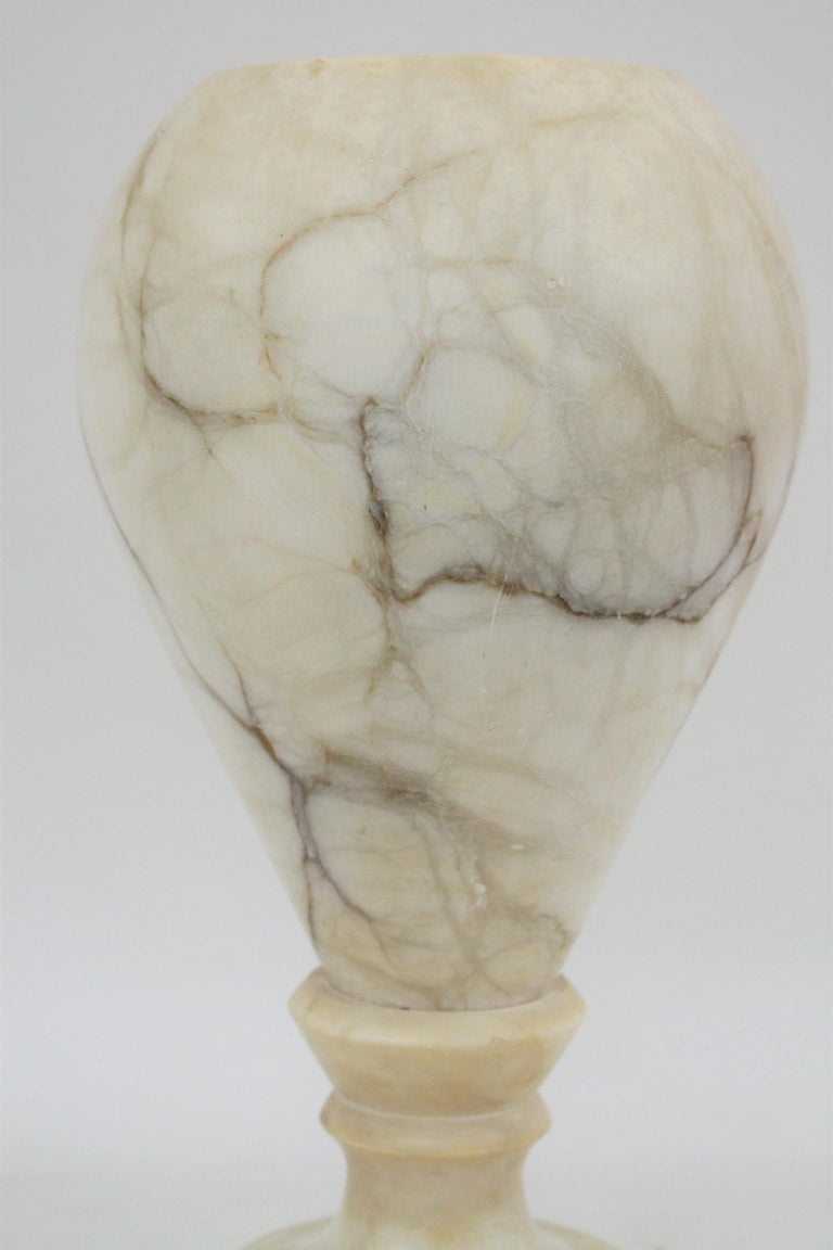 Spanish 1930s Art Deco Alabaster Urn Table Lamp For Sale 9