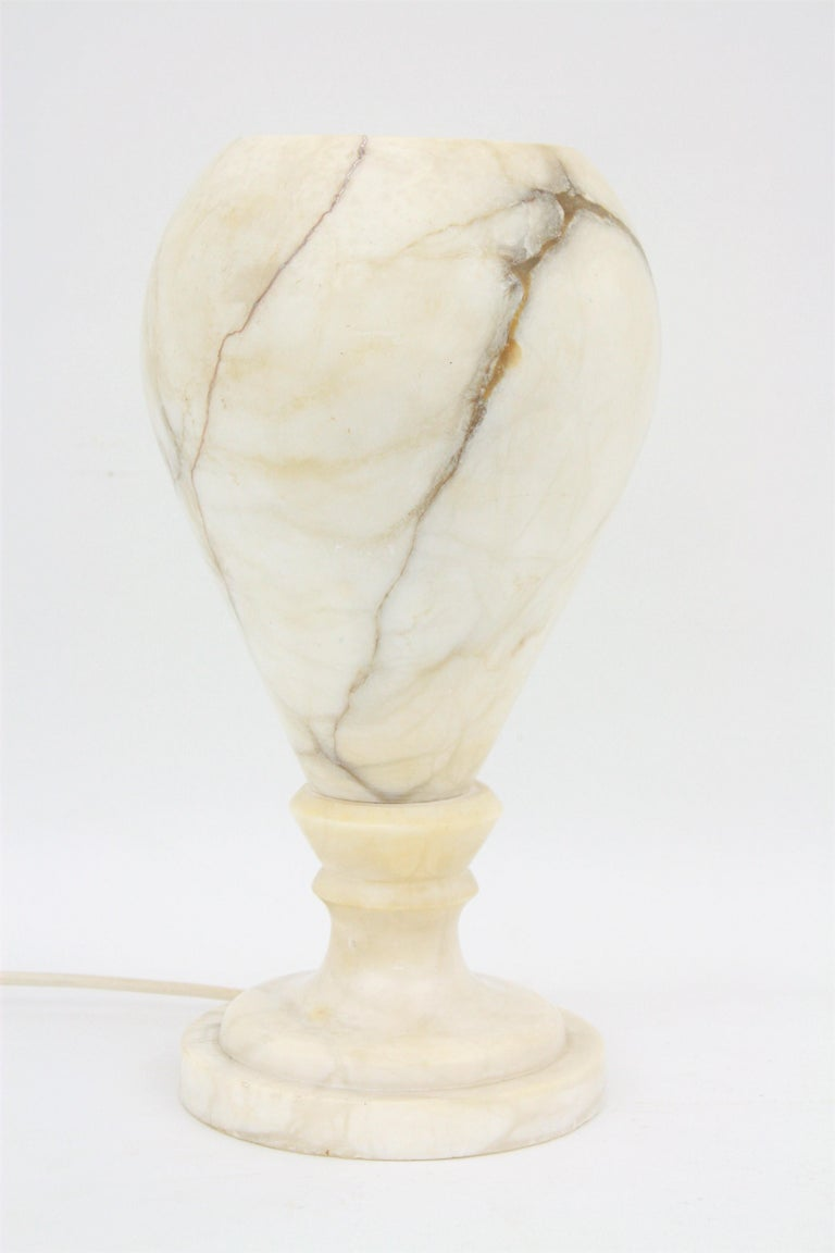 Spanish 1930s Art Deco Alabaster Urn Table Lamp For Sale 1