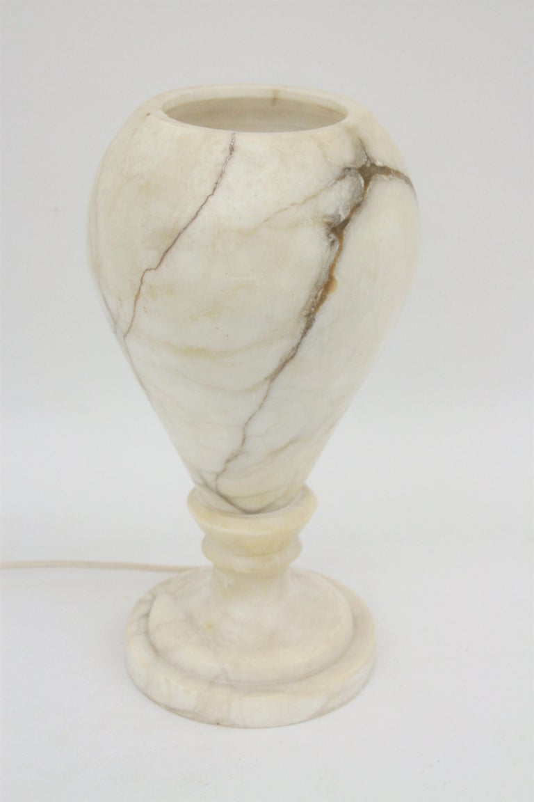Spanish 1930s Art Deco Alabaster Urn Table Lamp For Sale 3