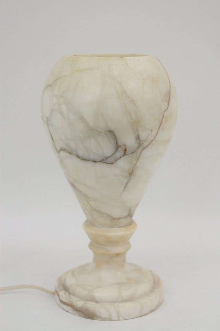 Spanish 1930s Art Deco Alabaster Urn Table Lamp For Sale 5