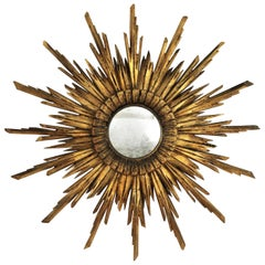Sunburst Convex Mirror in Carved Giltwood, Baroque Style, 1930s