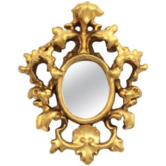 Spanish 1930s Baroque Style Carved Gold Leaf Giltwood and Gesso Mirror Miniature
