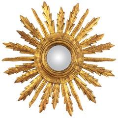 Spanish 1930s Baroque Style Giltwood Sunburst Convex Mirror