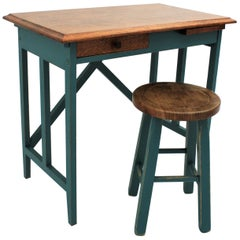 Spanish 1930s Industrial Desk and Stool in Oak and Green Blue Patina